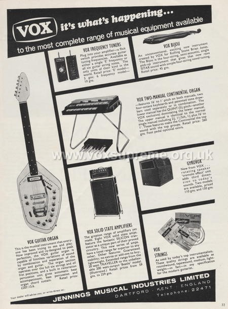 Beat Instrumental magazine, November 1966, advert for the Vox Supreme amplifier, GyroVox, Guitar Organ