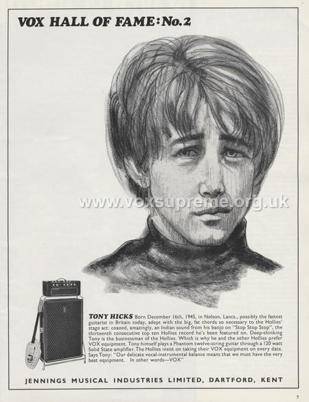 Beat Instrumental magazine, January 1967, advert for the Vox Supreme amplifier, Tony Hicks