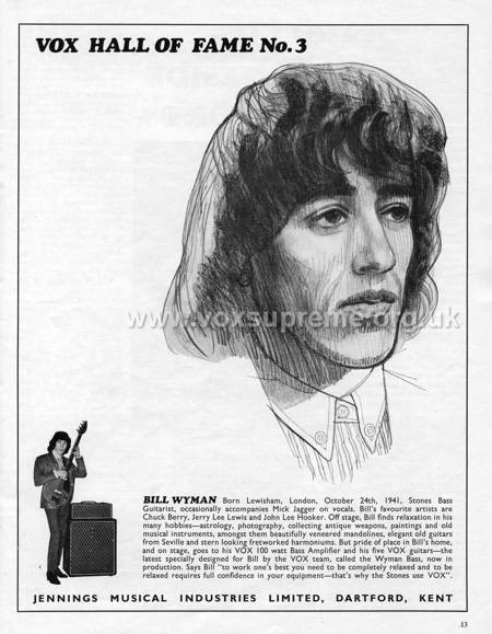 Beat Instrumental magazine, February 1967, advert for the Vox AC100 and Foundation Bass, Bill Wyman
