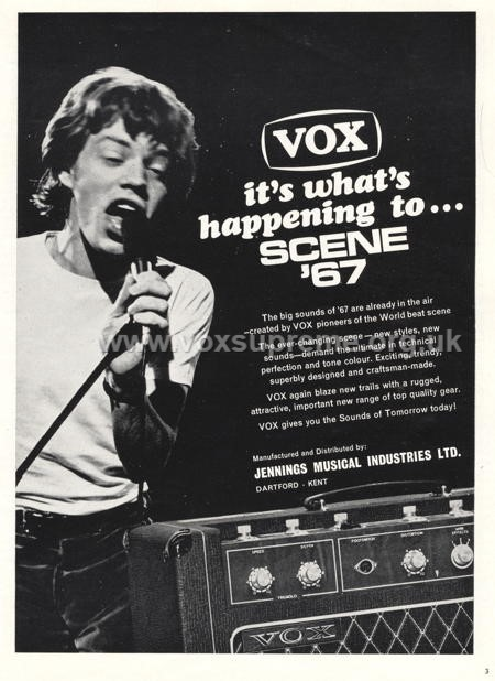 Beat Instrumental magazine, March 1967, advert for the Vox Supreme amplifier, Mick Jagger