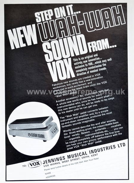 Beat Instrumental magazine, June 1967, advert for the Vox wah wah pedal