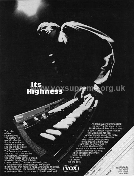 Beat Instrumental magazine, October 1968, advert for Vox organs