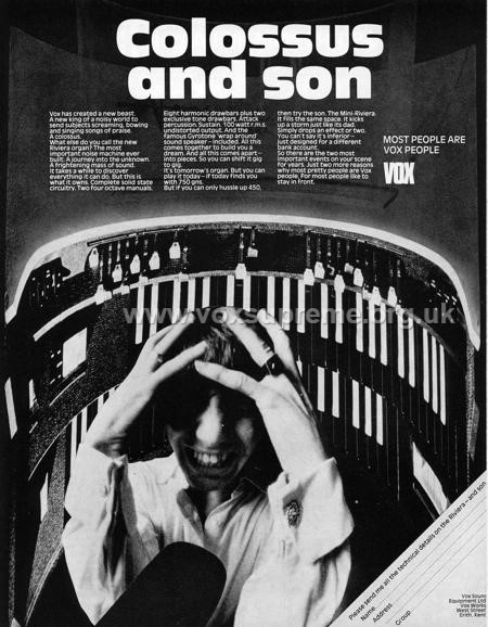 Beat Instrumental magazine, November 1968, advert for the Vox Riviera organ