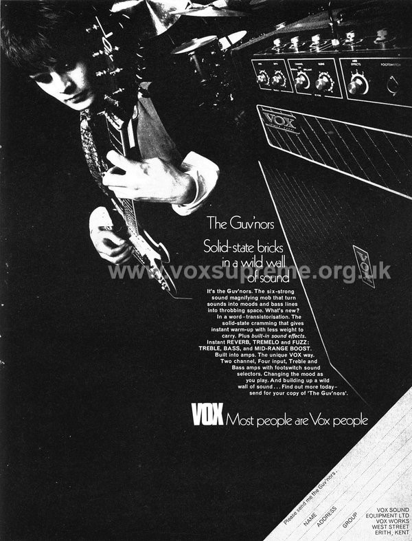 Beat Instrumental magazine, January 1970, advert for the Vox Supreme