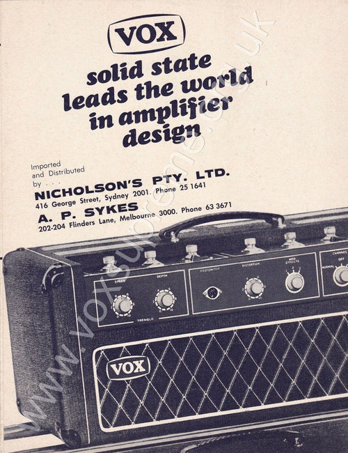 Vox solid state brochure for the Australian market