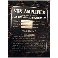 Vox Foundation Bass serial number 1165