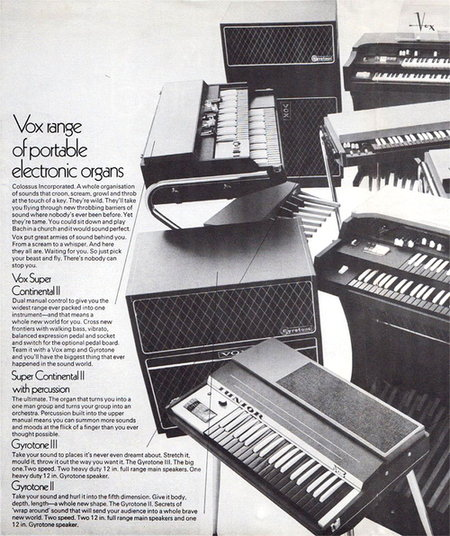 Vox flyer / brochure for Organs and Gyrotones, February 1969
