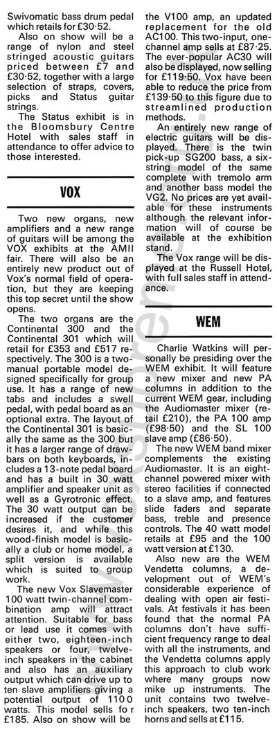 Beat Instrumental magazine, August 1971, Vox at the AMII fair