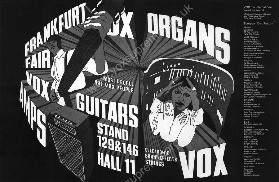 Vox Sound Equipment Limited advert in Beat Instrumental, February 1969