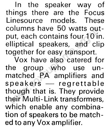 Beat Instrumental magazine, January 1970, note on Vox PA equipment