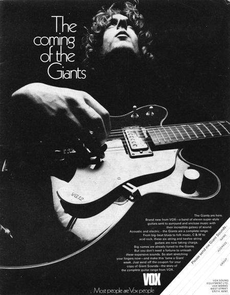 Vox Sound Equipment Limited advert for the new range of guitars, Beat Instrumental magazine, March 1969