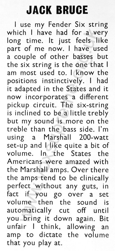 Jack Bruce, comment on American Vox solid state amps