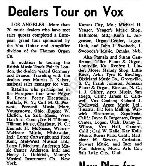 Billboard, 7th September 1967, Vox dealers