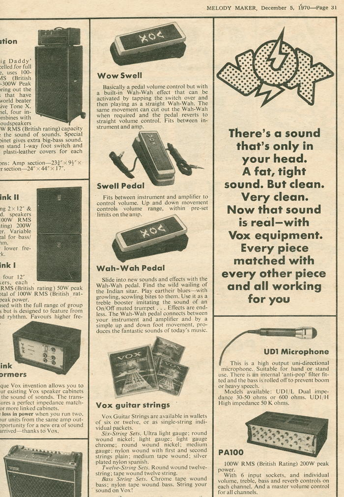 Vox Sound Limited advert in Melody Maker, December 1970, part 1