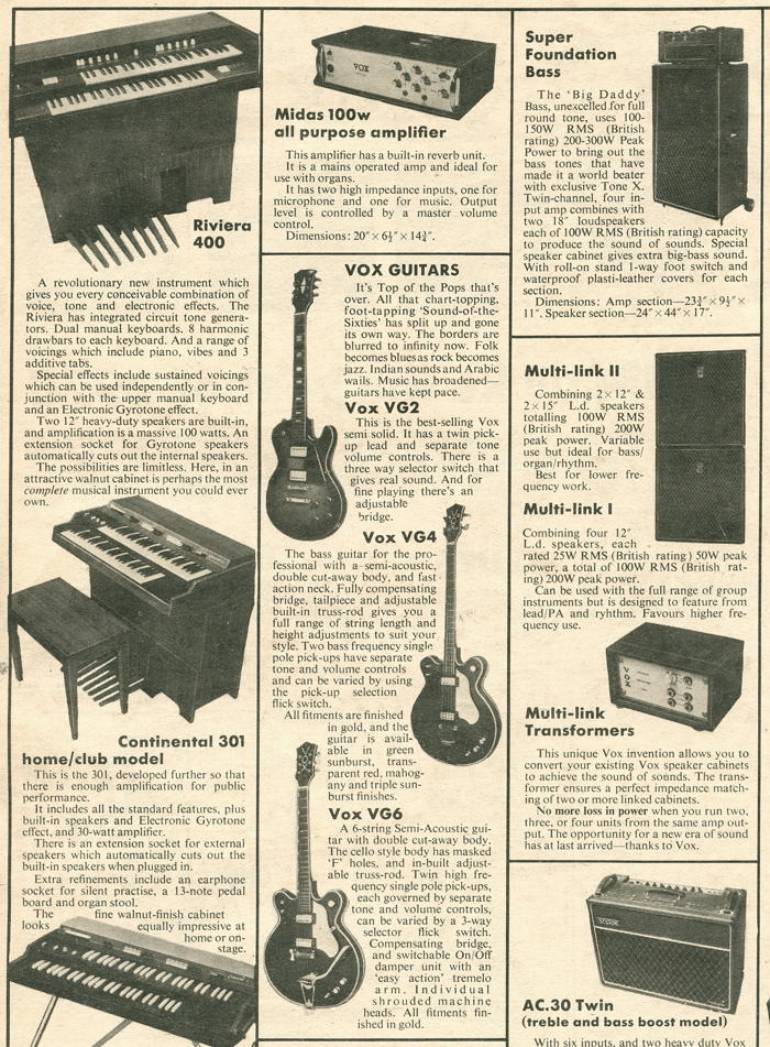 Vox Sound Limited advert in Melody Maker, December 1970, part 2