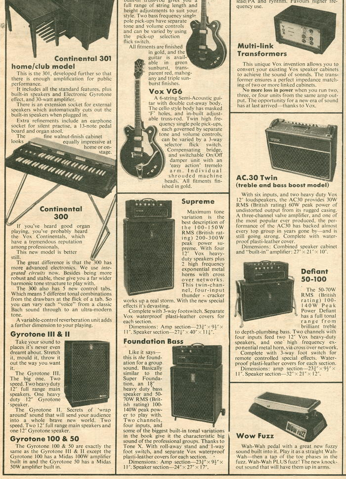 Vox Sound Limited advert in Melody Maker, December 1970, part 3