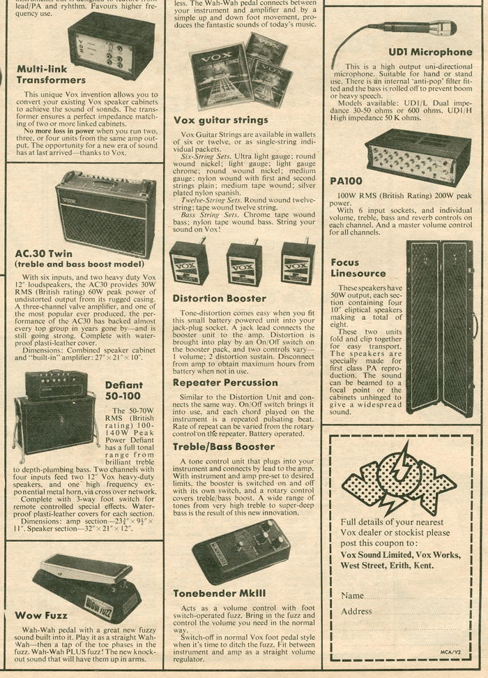 Vox Sound Limited advert in Melody Maker, December 1970, part 4