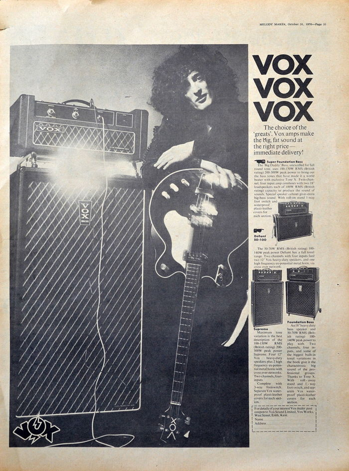 Vox Sound Limited advert in Melody Maker, October 1970
