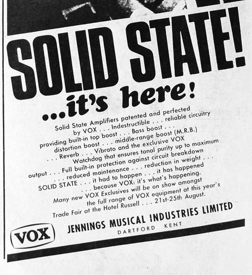 Vox advert for the solid state line in Melody Maker, August 1966