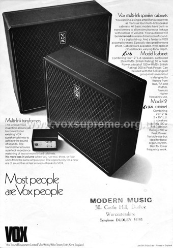 Vox Sound Equipment Limited brochure, early 1969, Vox Multi Link speaker cabinets