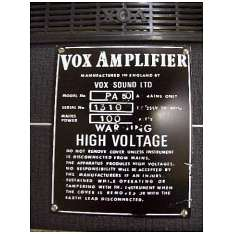Vox PA50SS, Vox Sound Ltd, serial number plate