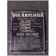 Vox PAR100SS, Vox Sound Limited, serial number plate