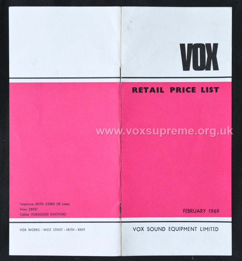 Vox Sound Equipment Limited pricelist, February 1969, front and rear covers