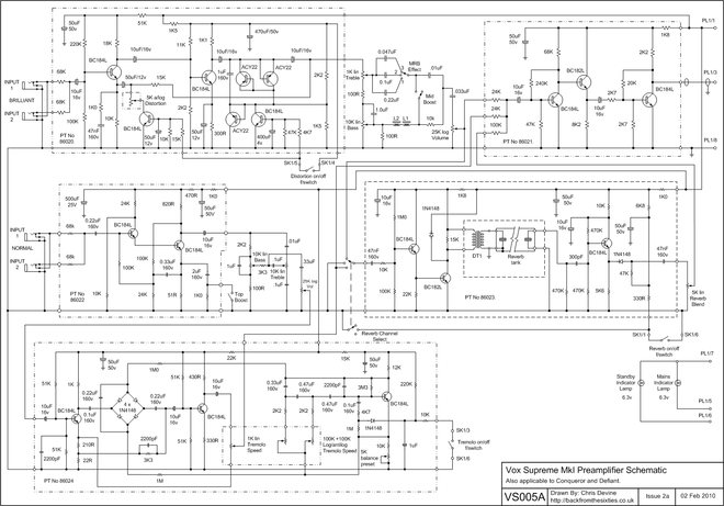 Schematic for the Vox Conqueror, Defiant and Supreme preamp