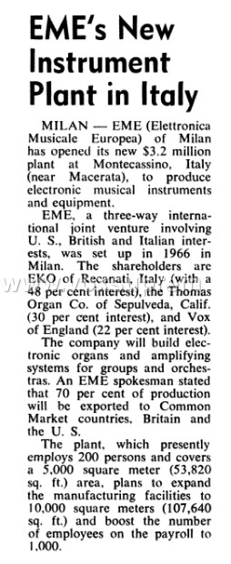 The E.M.E. factory at Monte Cassino ready for production, November 1968