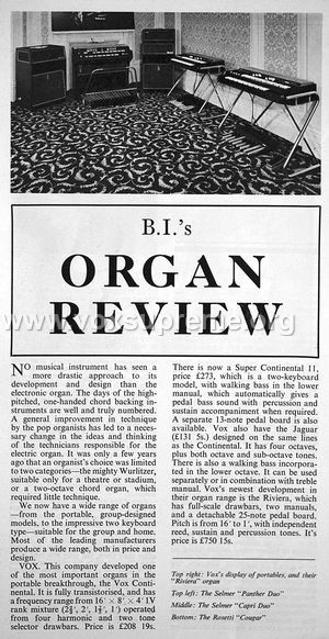 VSEL organs and gyrotones, Beat Instrumental magazine, January 1969