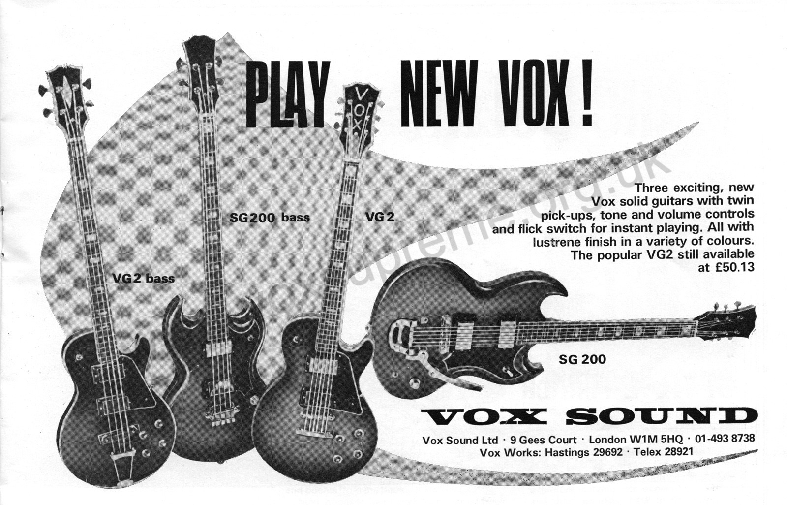 Beat Instrumental magazine, November 1971, advert for new guitars