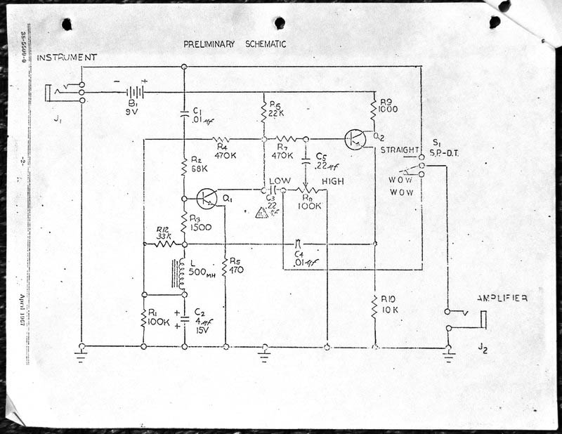 Thomas Organ schematic for the Clyde McCoy wah