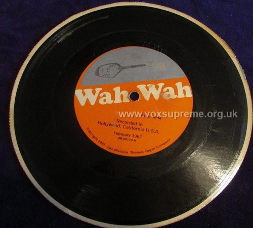 Vox promotional flexi disc for the new wah pedal, version 2, front